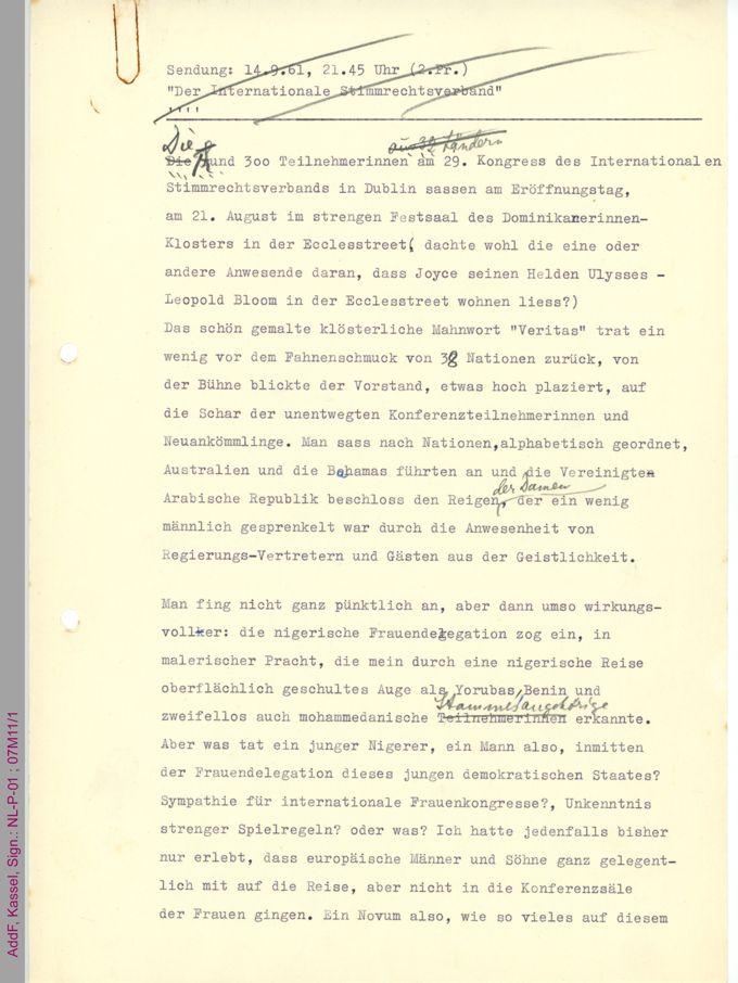 Bericht über den 29. Kongress des Internationalen Stimmrechtsverbands in Dublin 1961 / Seite 1