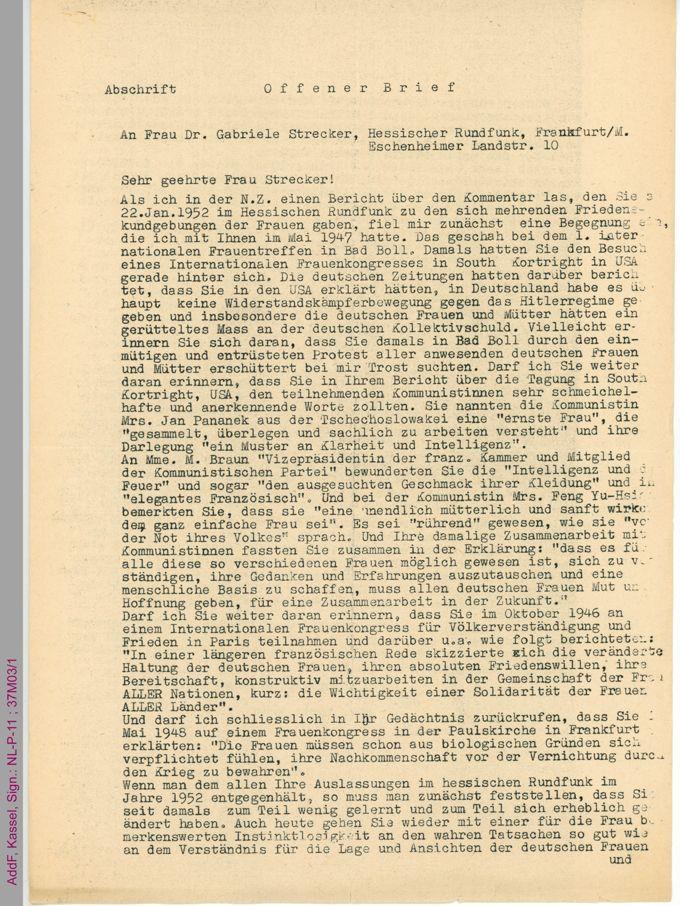 Offener Brief von Maria Deku an Gabriele Strecker / Seite 1