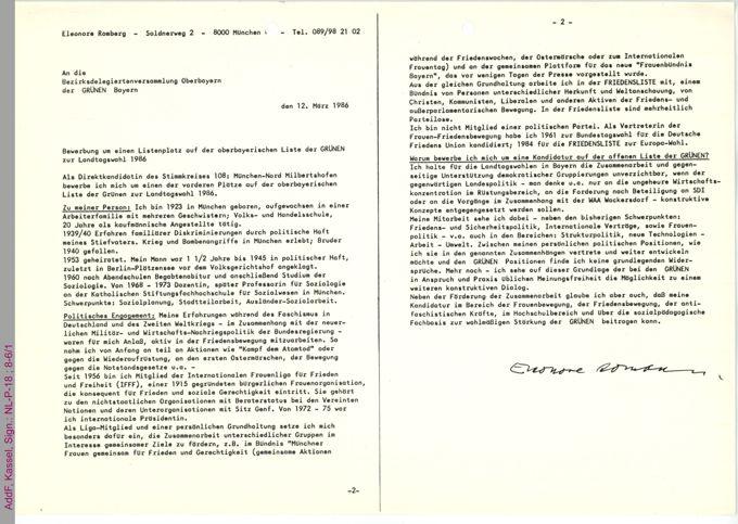 Bewerbung um einen Listenplatz auf der oberbayerischen Liste der GRÜNEN zur Landtagswahl 1986 / Seite 1