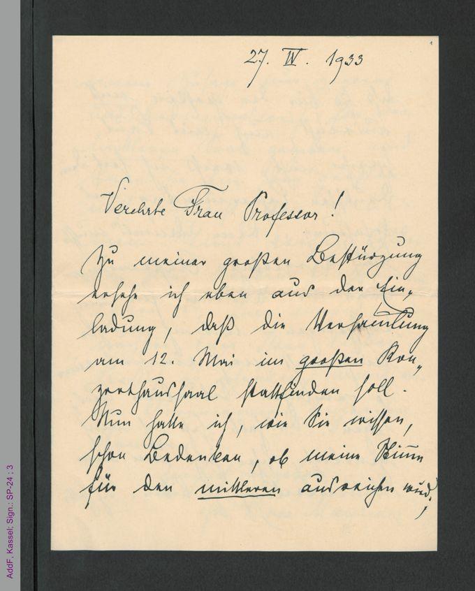 Brief von Rosa Mayreder an Marianne Zycha, hs / Seite 1