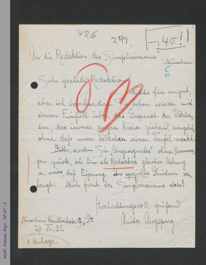 Brief von Anita Augspurg an die Redaktion des Simplicissimus, hs / Seite 1