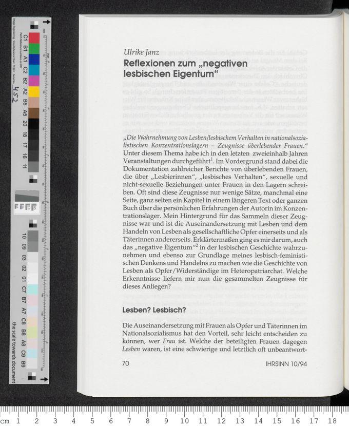 """Reflexionen zum """"negativen lesbischen Eigentum"""" / Seite 1"""