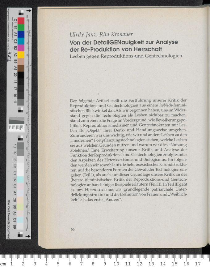 Von der DetailGENauigkeit zur Analyse der Re-Produktion von Herrschaft : Lesben gegen Reproduktions- und Gentechnologien / Seite 1