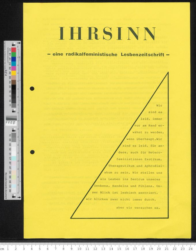 IHRSINN - eine radikalfeministische Lesbenzeitschrift / Seite 1