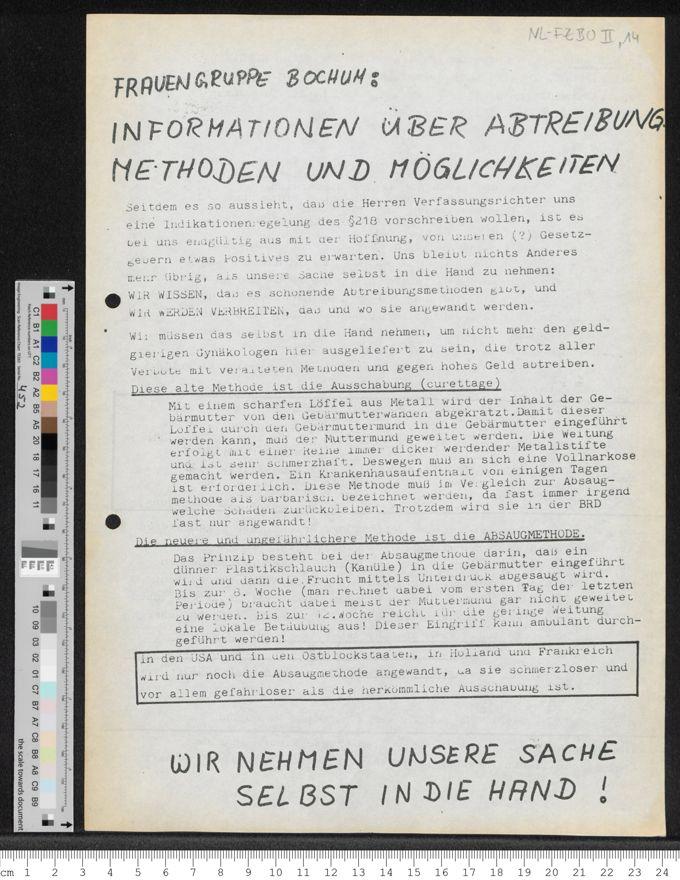 """""""Frauengruppe Bochum: Informationen über Abtreibung: Methoden und Möglichkeiten"""" / Seite 1"""