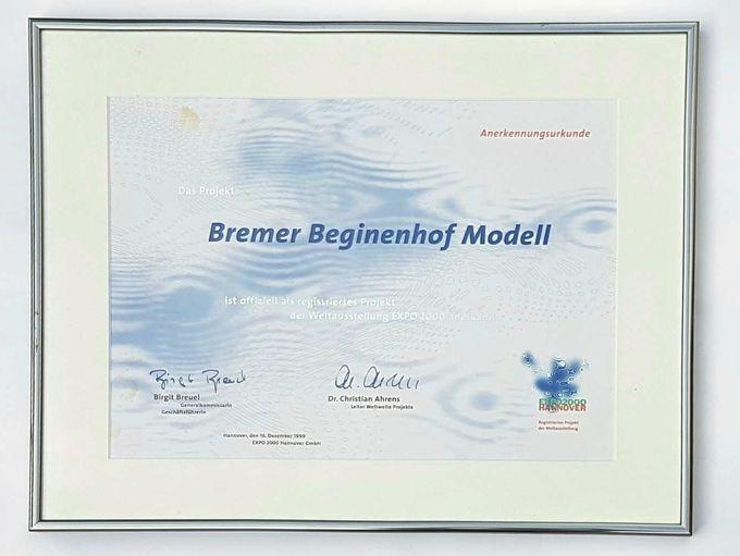 Anerkennungsurkunde EXPO 2000 : Bremer Beginenhof Modell