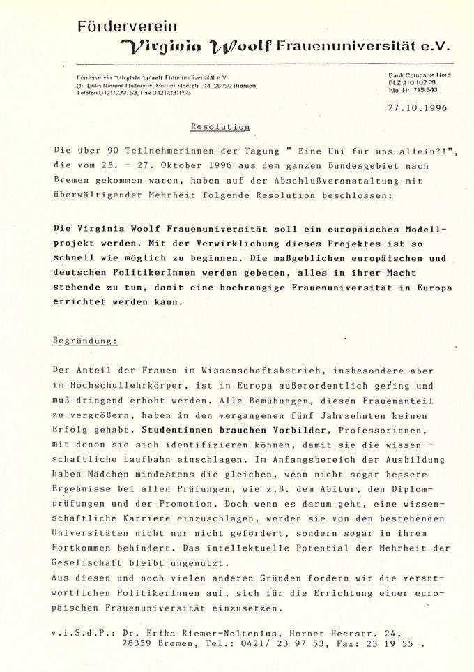 """Vermischtes zur Tagung """"Eine Uni für uns allein?! vom 25. - 27.10.1996 in Bremen"""" III"""