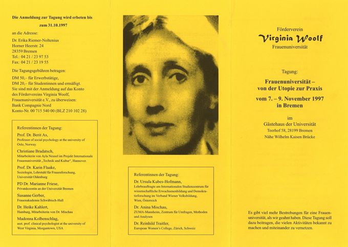 """Vermischtes zur Tagung """"Frauenuniversität - von der Utopie zur Praxis"""" vom 7. - 9.11.1997 in Bremen I"""