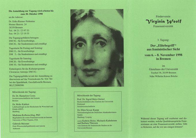 """Vermischtes zur Tagung """"Der Elitebegriff aus feministischer Sicht. Welche Qualiätsanforderungen stellen wir an eine Frauenuniversität"""" vom 6. - 8.11.1998 in Bremen VI"""