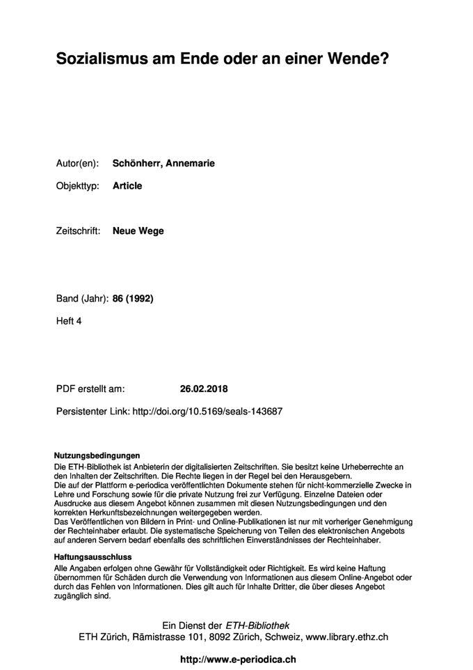 Sozialismus am Ende oder an einer Wende?, in: Neue Wege. Beiträge zum Christenrum und Sozialismus, 86. Jg.