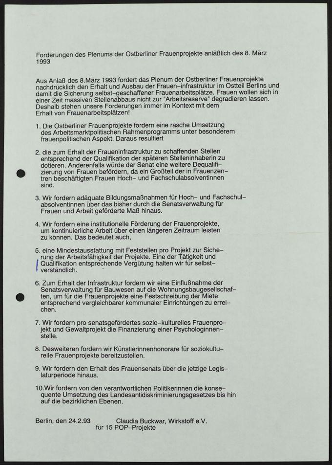 Plenum Ostberliner Frauenprojekte (POP)