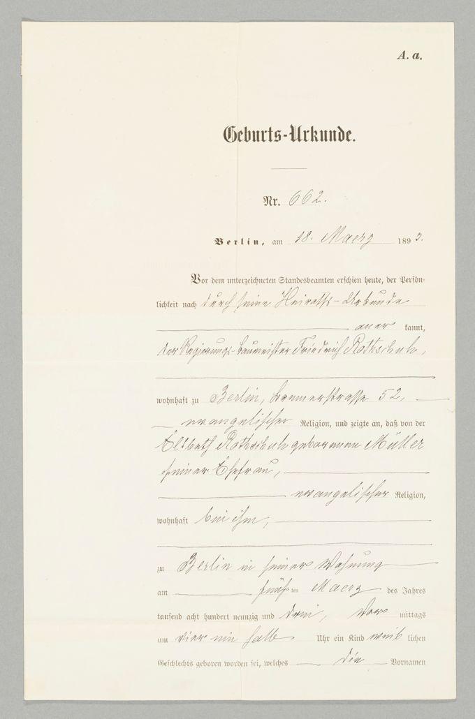 Geburtsurkunde von Elisabeth Rothschuh von 1893