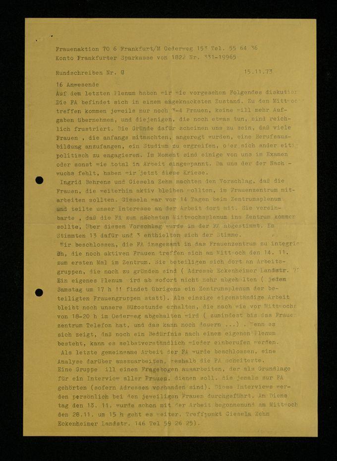 Rundschreiben Nr. 7 vom 15. November 1973