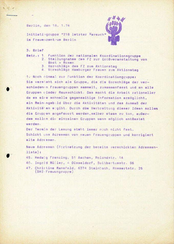 """Initiativgruppe """"218 letzter Versuch"""" im Frauenzentrum Berlin"""
