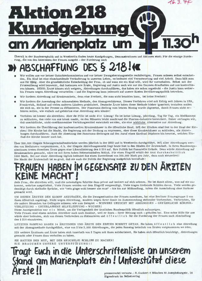 Aktion 218 Kundgebung am Marienplatz um 11.30h