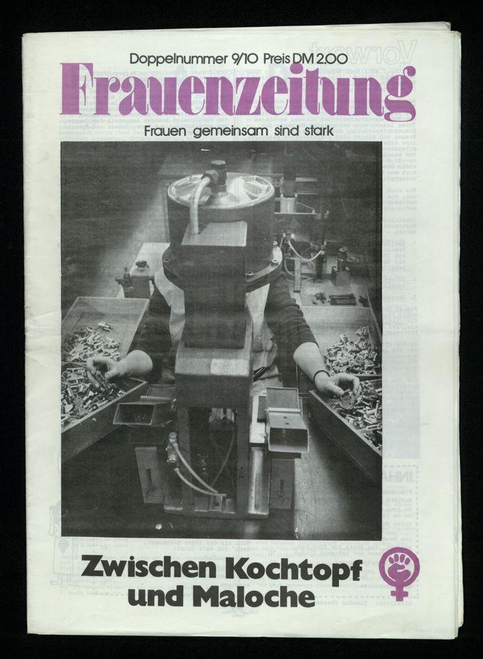 Frauenzeitung : Frauen gemeinsam sind stark ; zwischen Kochtopf und Maloche (1976)9/10 / Seite 1