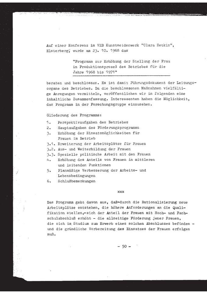 Programm zur Erhöhung der Stellung der Frau im Produktionsprozeß des Betriebes für die Jahre 1968 bis 1971 / Seite 1
