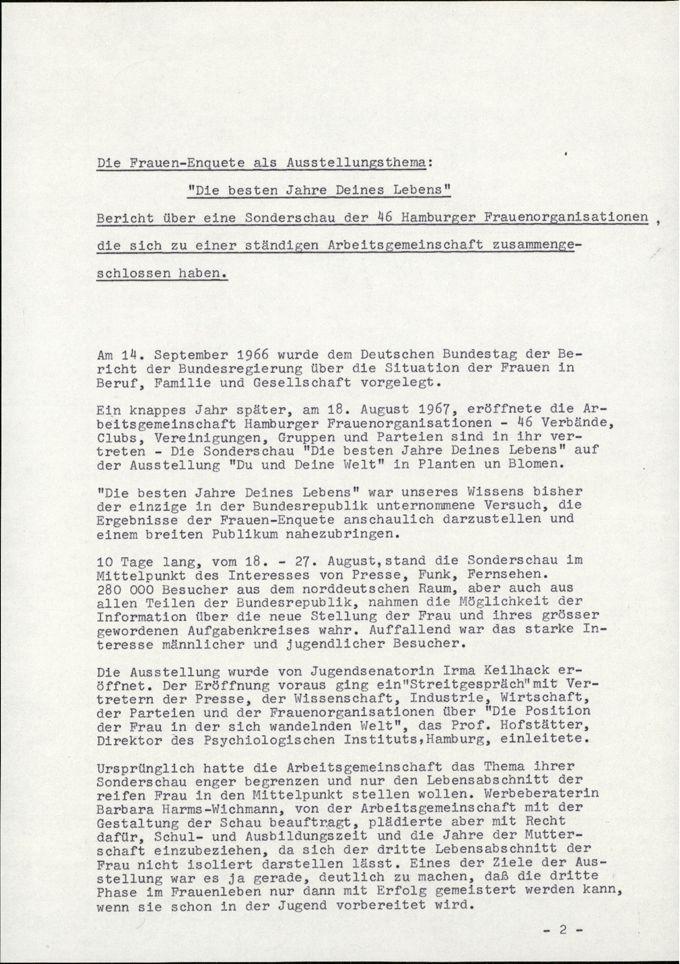 Die Frauen-Enquete als Ausstellungsthema / Seite 1