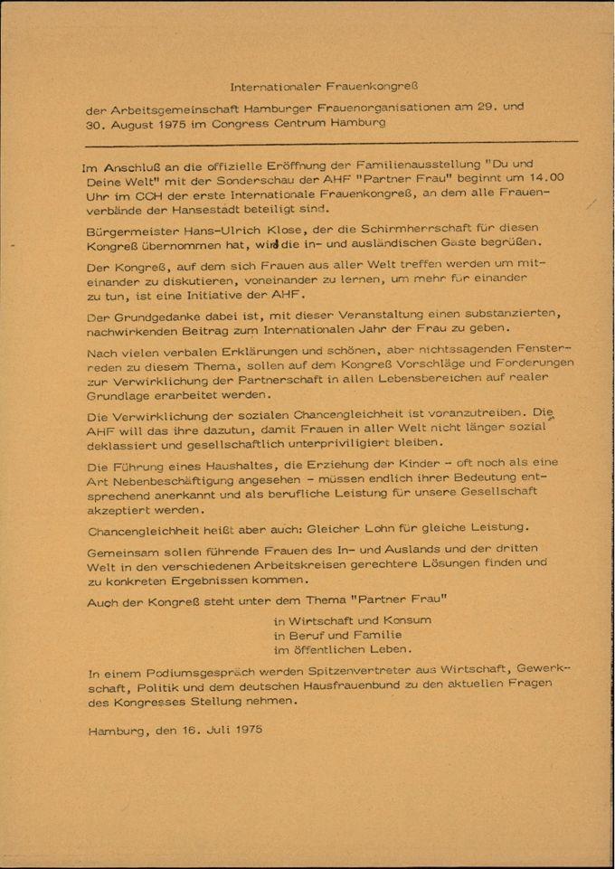 "Ankündigung Internationaler Frauenkongreß ""Partner Frau"" / Seite 1"
