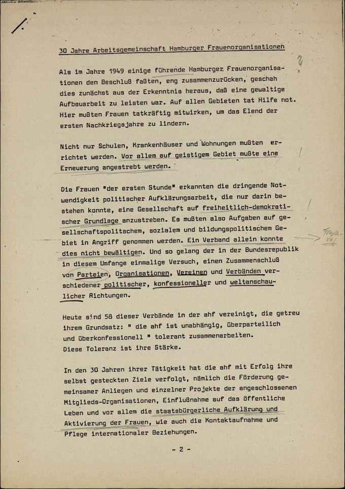 30 Jahre Arbeitsgemeinschaft Hamburger Frauenorganisationen / Seite 1