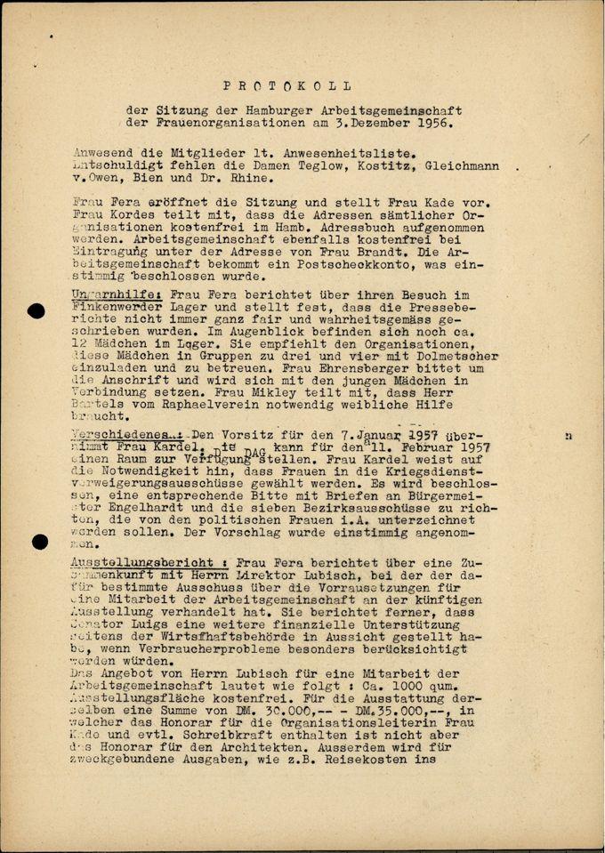 AHF MV Protokoll 3.12.1956 / Seite 1