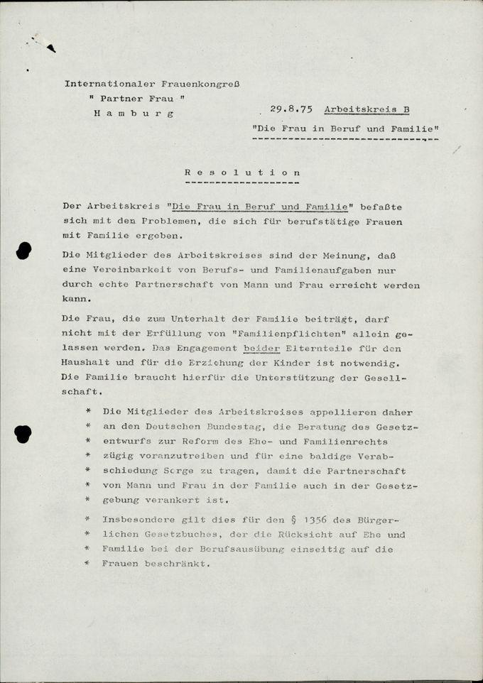 """Resolution """"Die Frau in Beruf und Familie"""" / Seite 1"""