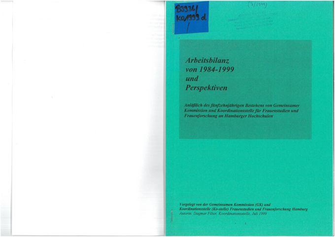 Arbeitsbilanz von 1984-1999 und Perspektiven