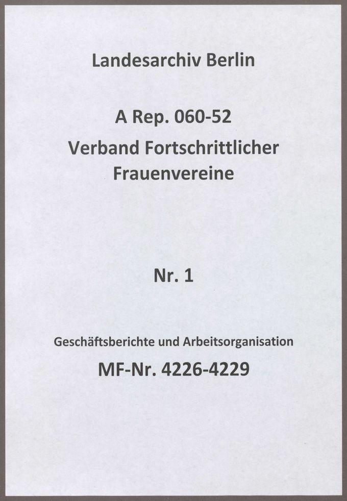 Geschäftsberichte und Arbeitsorganisation / Seite 1