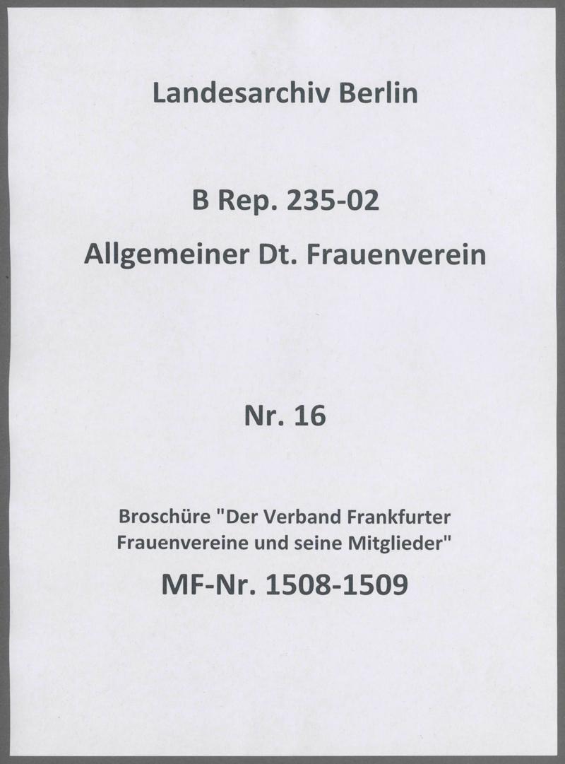 """Broschüre """"Der Verband Frankfurter Frauenvereine und seine Mitglieder"""""""