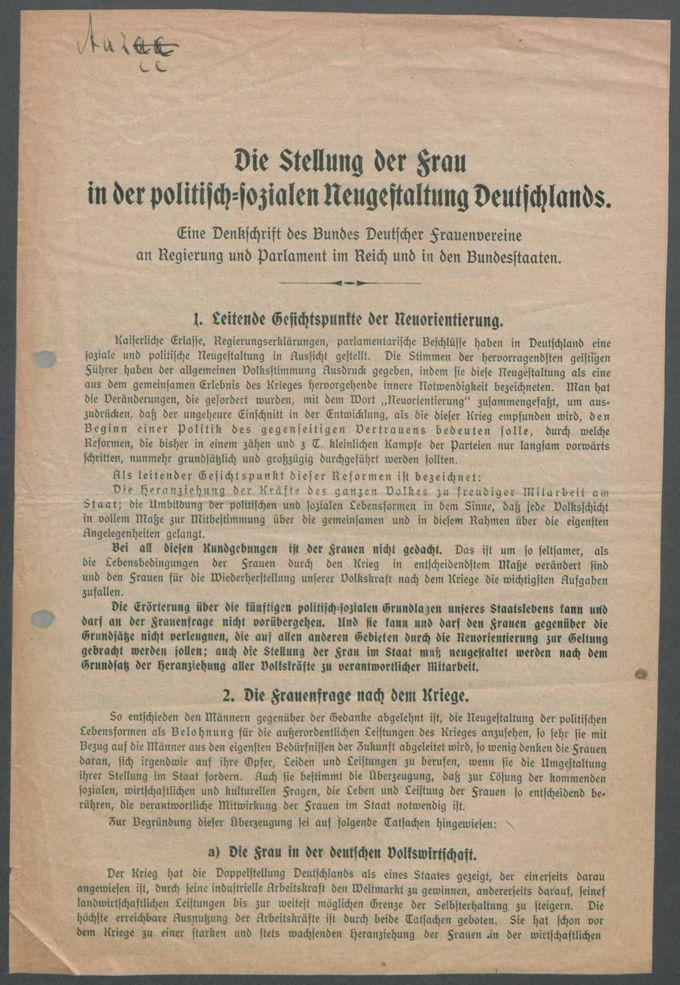 Resolutionen, Denkschriften und sonstige Veröffentlichungen des BDF / Seite 39