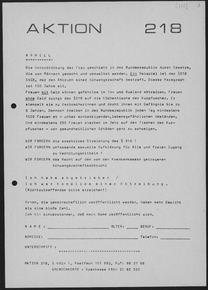 Appell: Die Aktion 218 Köln trug im Frühsommer 1971 dazu bei, Unterschriften von Hunderten mutiger Frauen zusammenzutragen, die eine Abtreibung zugaben