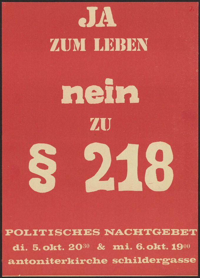 """Flugblatt mit Ankündigung des Politischen Nachtgebets """"Ja zum Leben, nein zu § 218"""" im Oktober 1971 in Köln"""