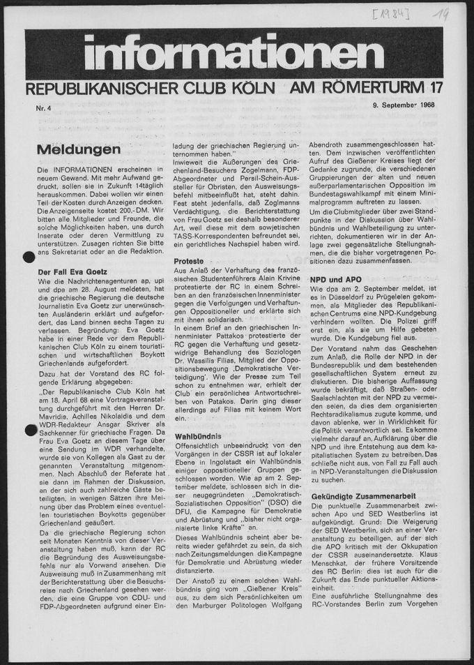 informationen des Republikanischen Club Köln Nr. 4 vom 09.09.1968: Arbeitskreis Frau und Gesellschaft