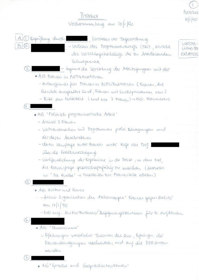 Protokoll : Vollversammlung am 10/1/90 / Seite 1