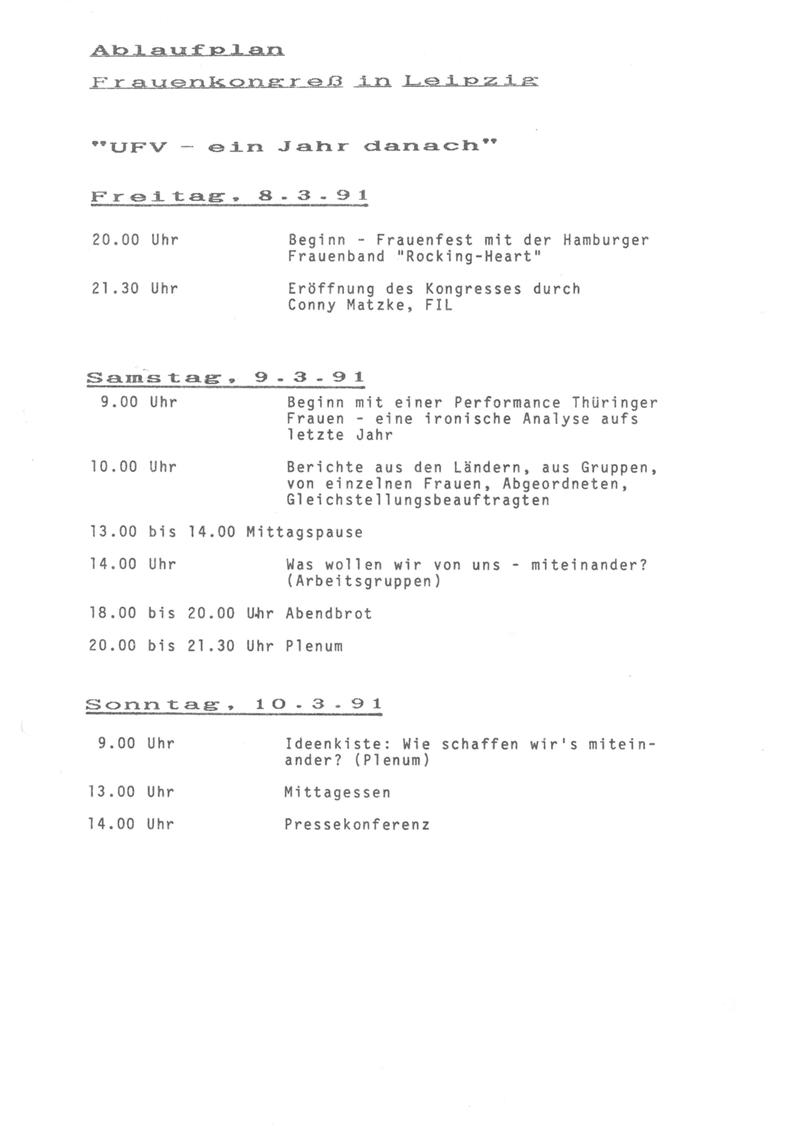 """Ablaufplan Frauenkongress in Leipzig """"UFV - ein Jahr danach"""" : Freitag 8.3.1991 bis Sonntag 10.3.1991"""