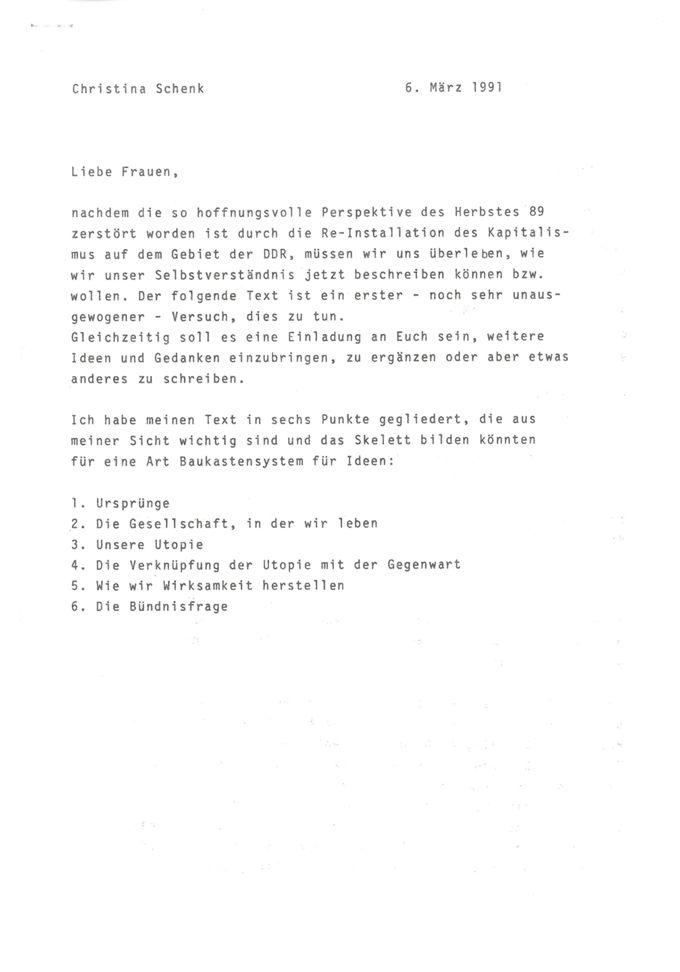 [Rede von Christina Schenk zum 2. Bundeskongress des UFV in Leipzig]  : [Unterpunkte: 1. Ursprünge, 2. die Gesellschaft, in der wir leben, 3. unsere Utopie, 4. die Verknüpfung der Utopie mit der Gegenwart, 5. wie wir Wirksamkeit herstellen, 6. die Bündnisfrage] / Seite 1