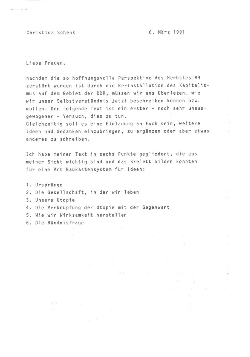 [Rede von Christina Schenk zum 2. Bundeskongress des UFV in Leipzig] : [Unterpunkte: 1. Ursprünge, 2. die Gesellschaft, in der wir leben, 3. unsere Utopie, 4. die Verknüpfung der Utopie mit der Gegenwart, 5. wie wir Wirksamkeit herstellen, 6. die Bündnisfrage]