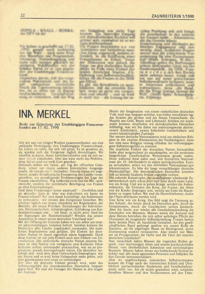 Rede zur Gründung des Unabhängigen Frauenverbandes am 17.02.1990 / Seite 1