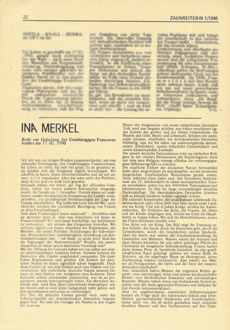 Rede zur Gründung des Unabhängigen Frauenverbandes am 17.02.1990