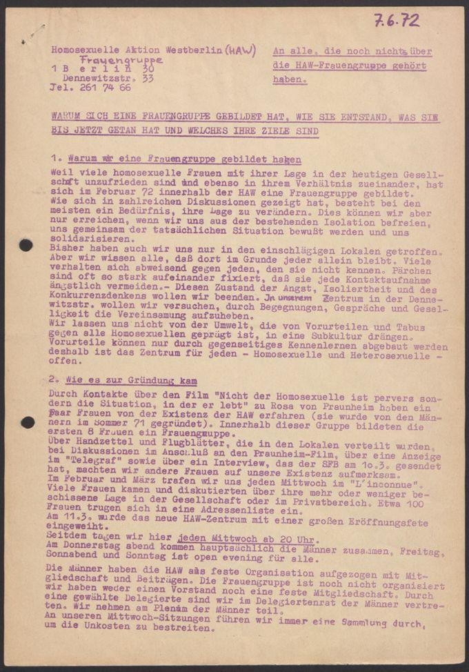 diverse Materialien zu Aktionen aus den Anfangsjahren (HAW-Frauengruppe)