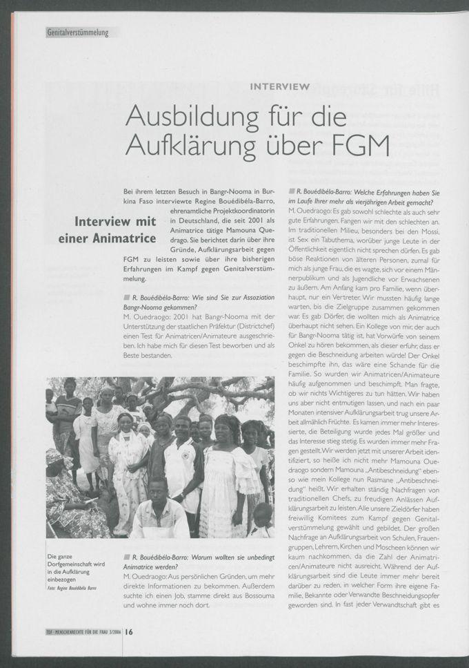 Ausbildung für die Aufklärung über FGM : Interview mit einer Animatrice in Burkina Faso