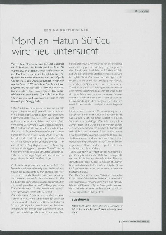 Mord an Hatun Sürücu wird neu untersucht