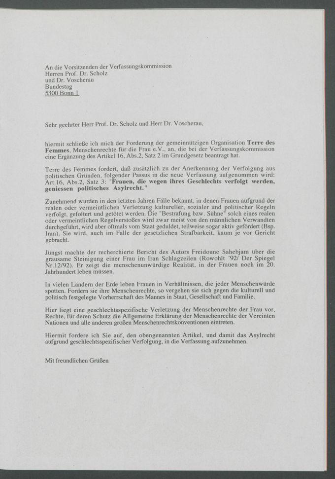"""[Ohne Titel] : Antwortschreiben """"An die Vorsitzenden der Verfassungskommission Herren Prof. Dr. Scholz und Dr. Voscherau"""""""
